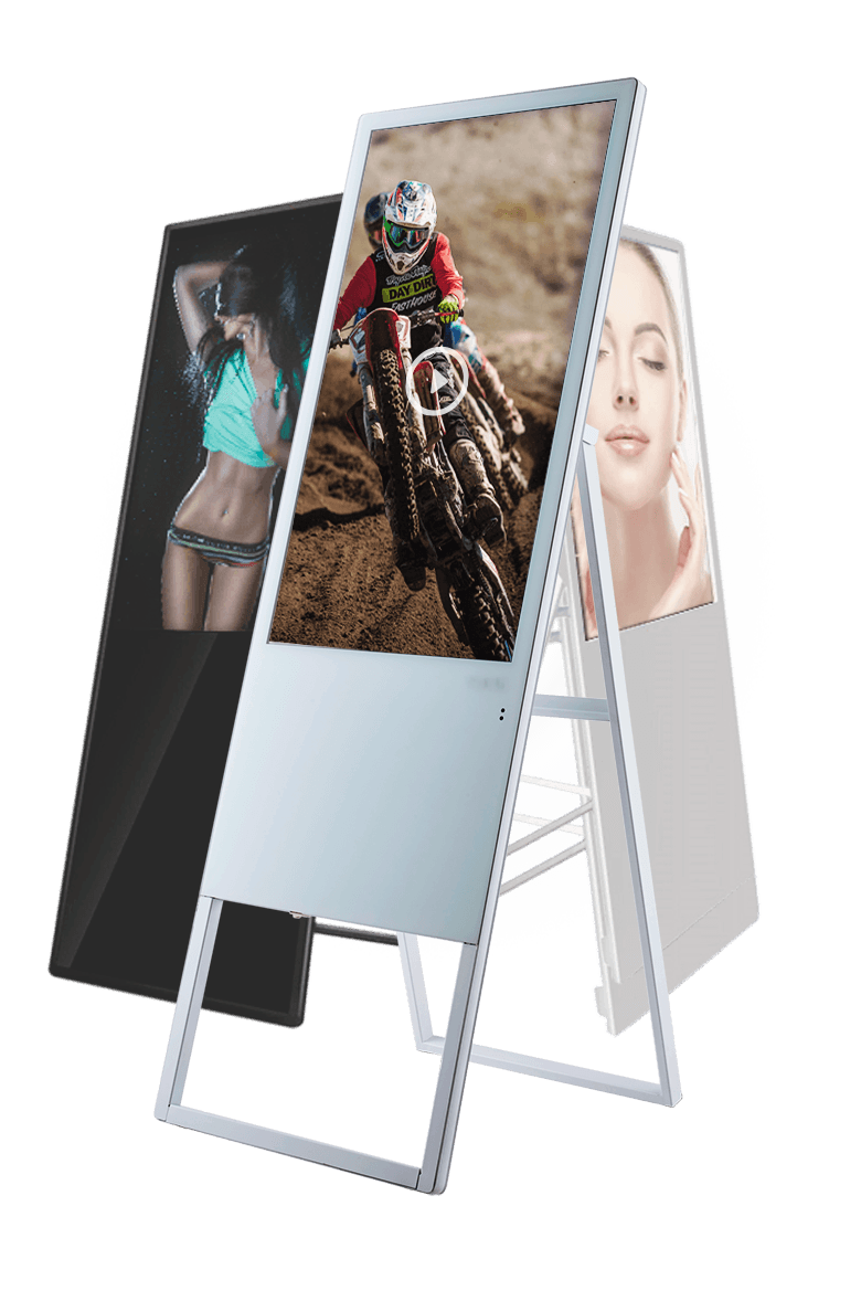 techboost Portable 43 Inch Lightweight-Vertical-Digital Signage with Stand